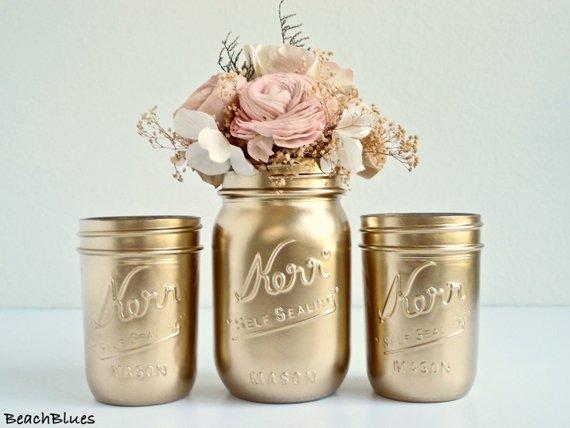 Etsy Gold Mason Jars